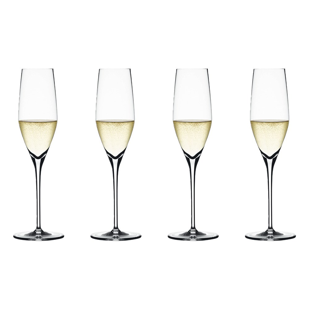 Spiegelau Authentis 4 Piece Crystal Glass Champagne Flute Set