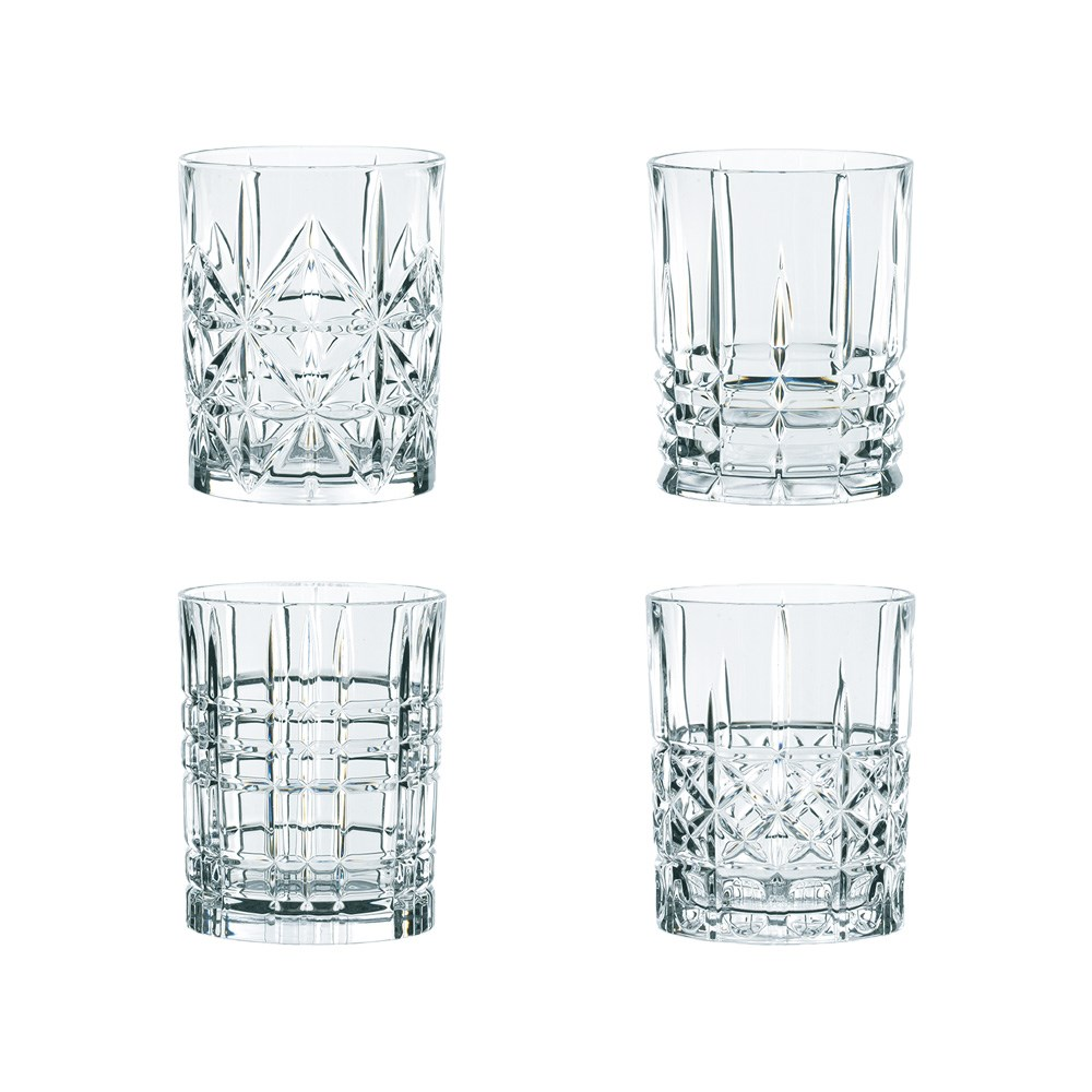 Nachtmann Highland 4 Piece Mixed Crystal Glass Tumbler Set 345ml