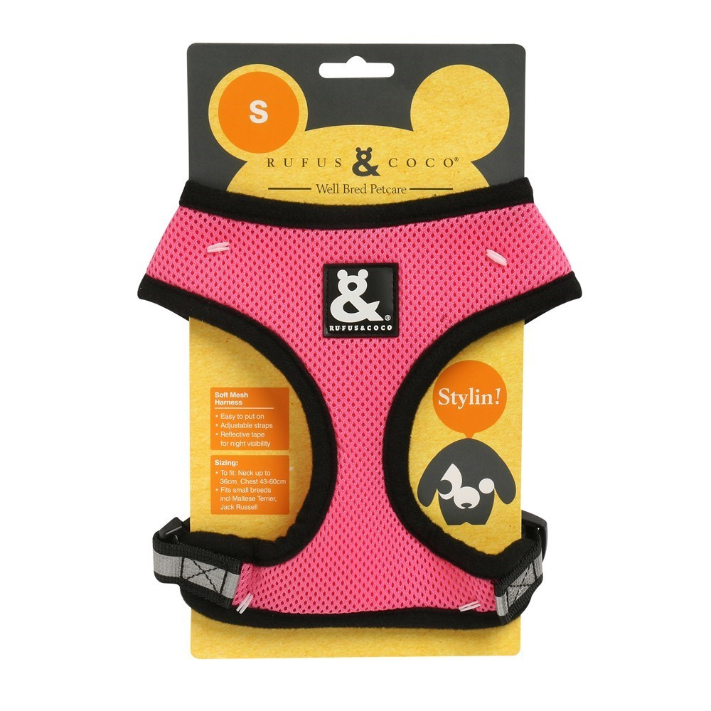 Rufus & Coco Soft Mesh Dog Harness Pink Small