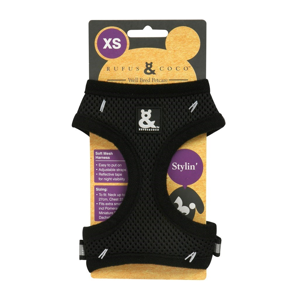 Rufus & Coco Soft Mesh Dog Harness Black Extra Small