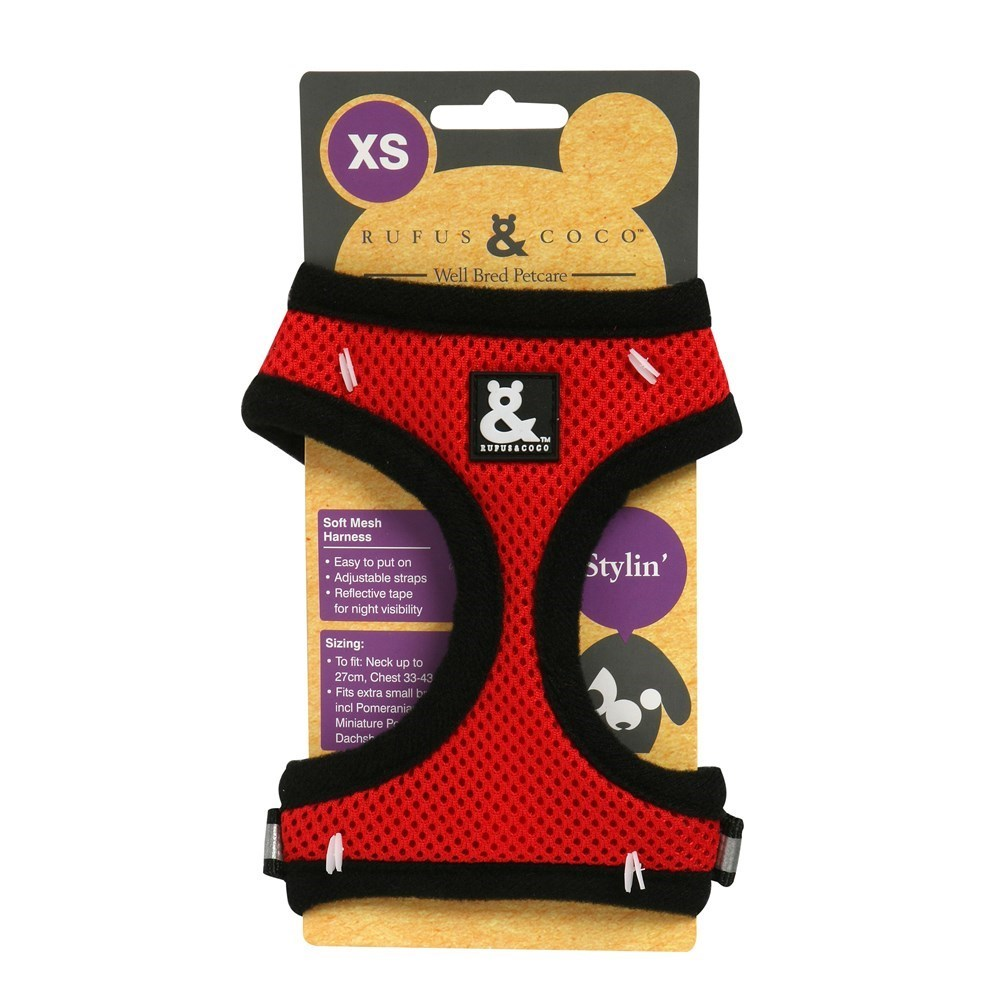 Rufus & Coco Soft Mesh Dog Harness Red Extra Small