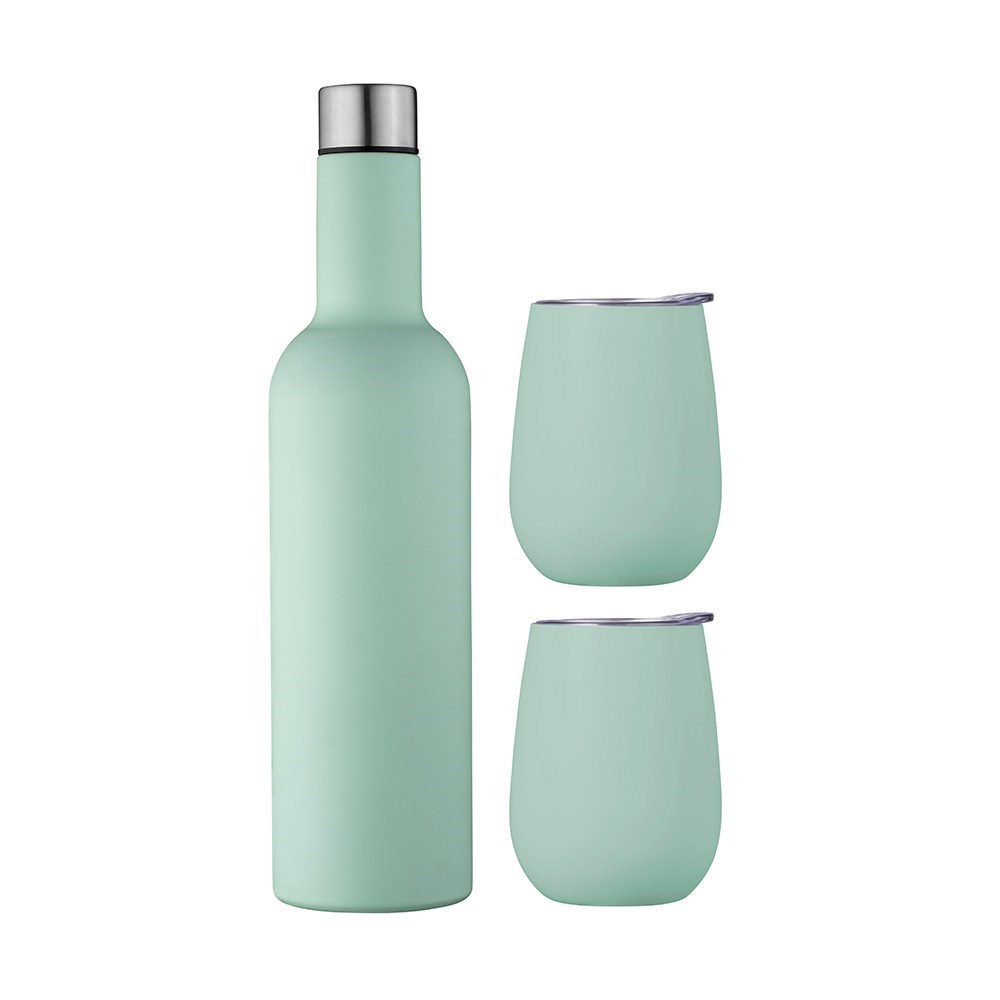 Avanti Double Wall Insulated Wine Traveller Set Duck Egg Blue