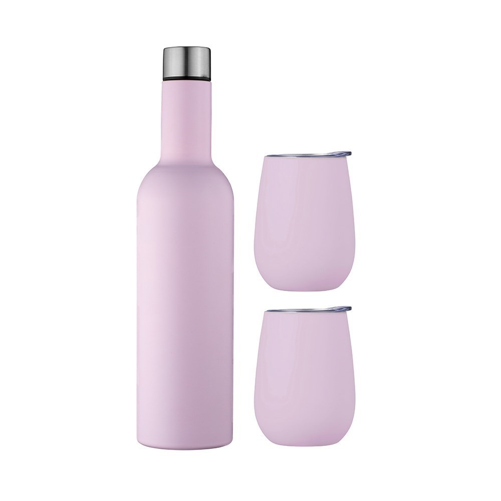Avanti Double Wall Insulated Wine Traveller Set Pink