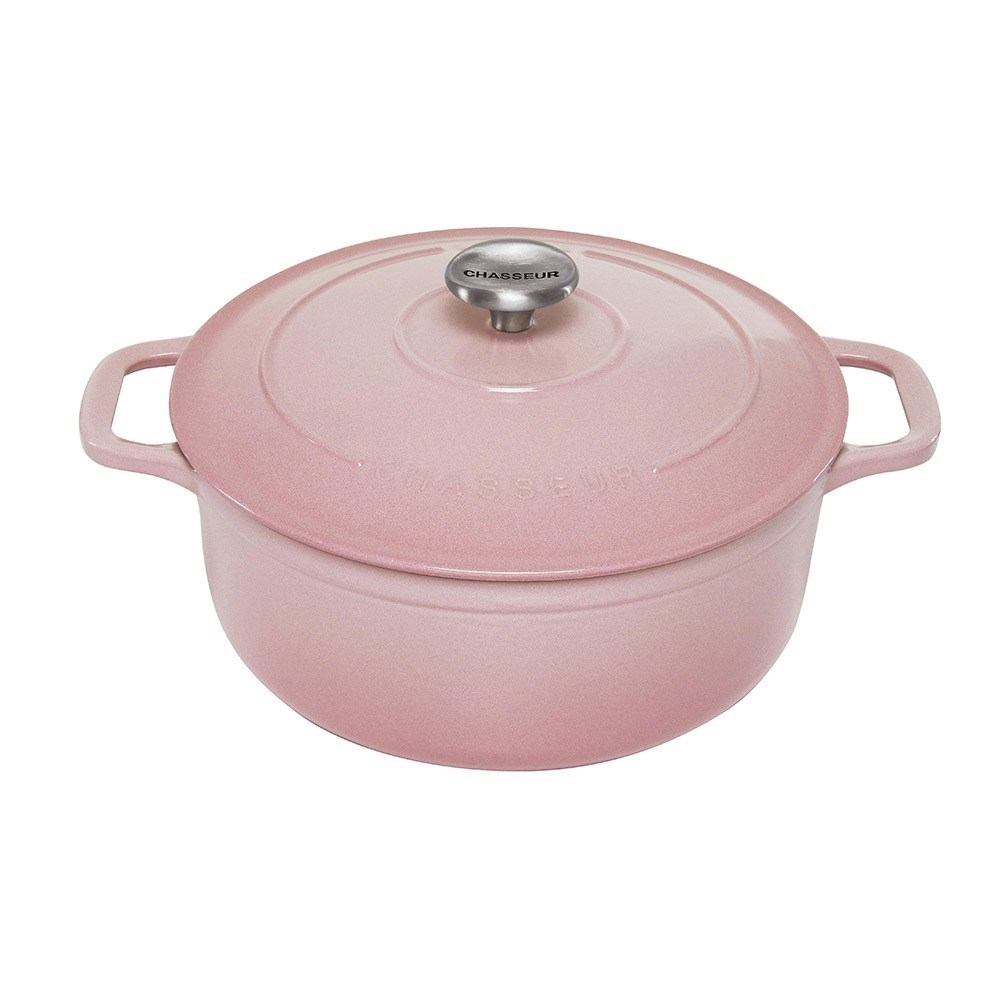 Chasseur Enamelled Cast Iron Round French Oven 24cm/4L Cherry Blossom Pink