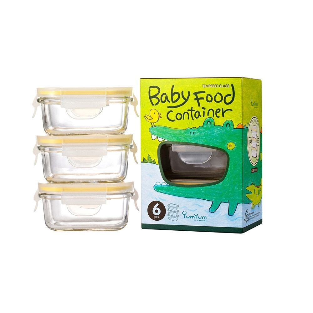 Glasslock 3 Piece Baby Food Container Set Rectangle 150ml