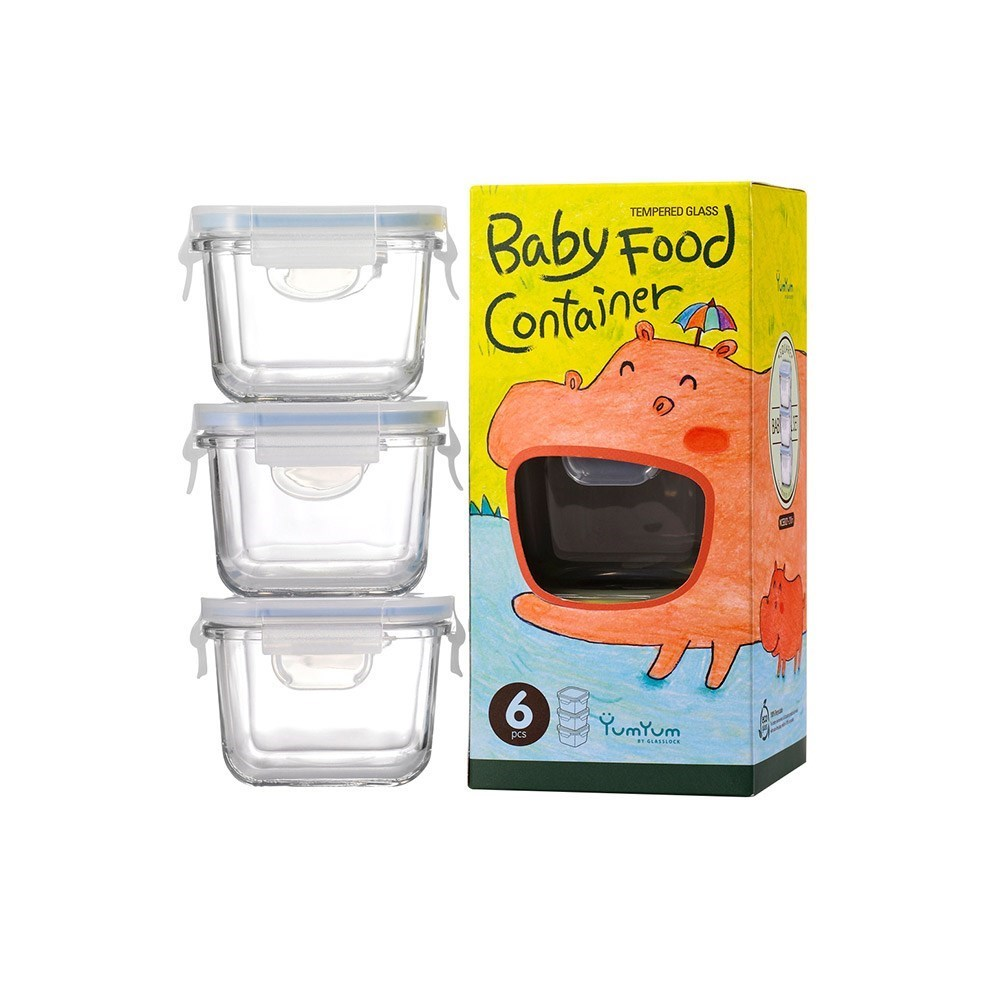 Glasslock 3 Piece Baby Food Container Set Square 210ml