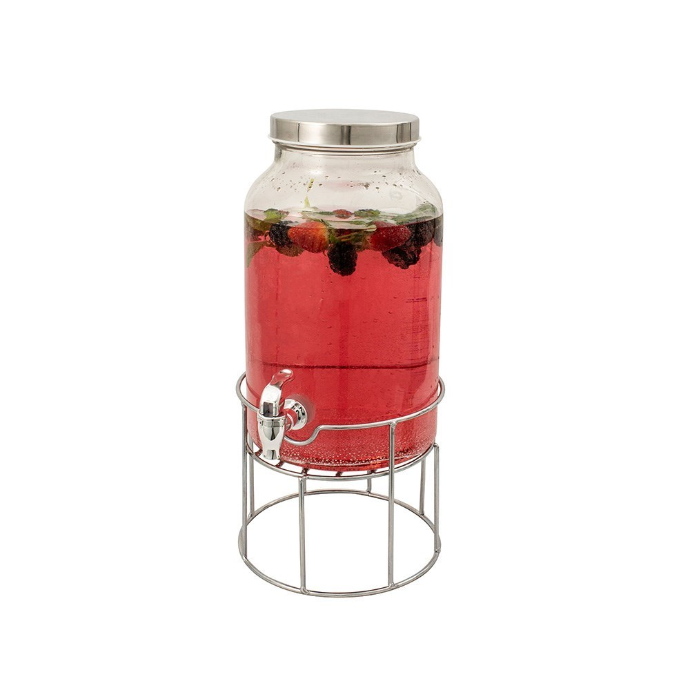 Serroni Glass Beverage Dispenser with Stand 5.6L