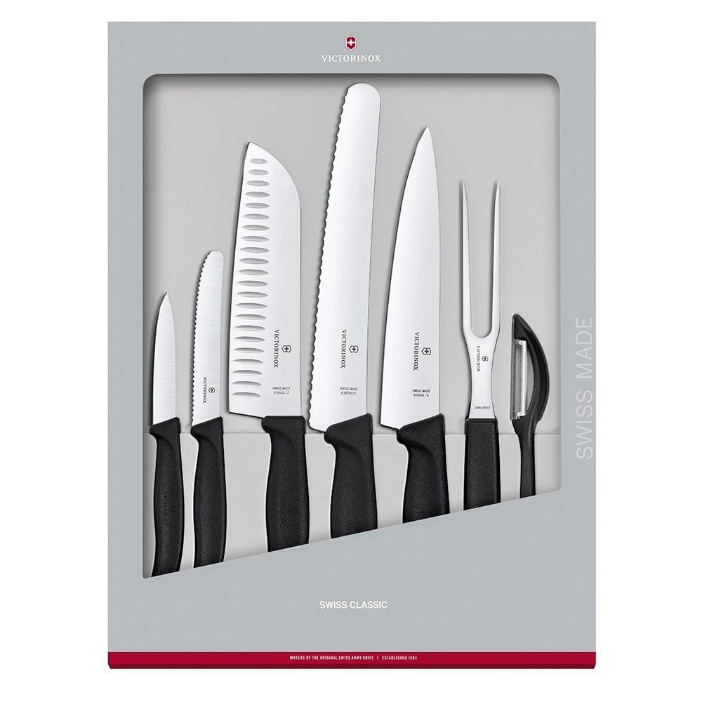 Victorinox Swiss Classic Stainless Steel 7 Piece Kitchen Knife Set Black