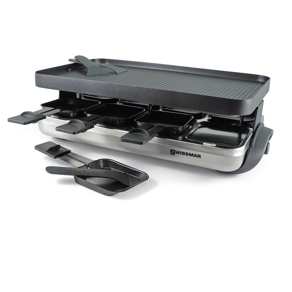 Swissmar Valais 8-Person Raclette Party Grill with Reversible Grill Plate Silver Base