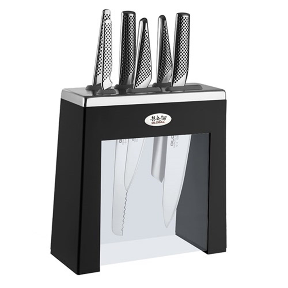 Global Kabuto Knife Block 7 Piece Black