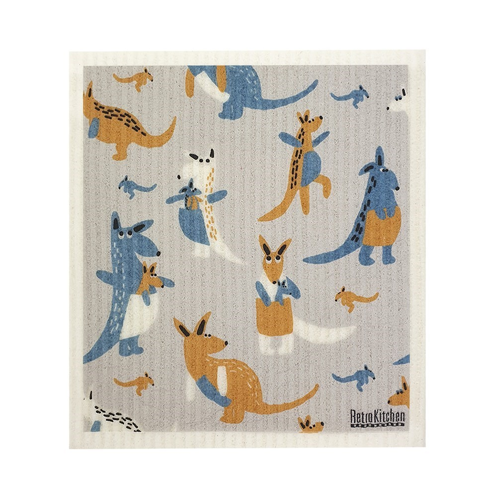 RetroKitchen Compostable Kitchen Sponge Cloth Kangaroo Design