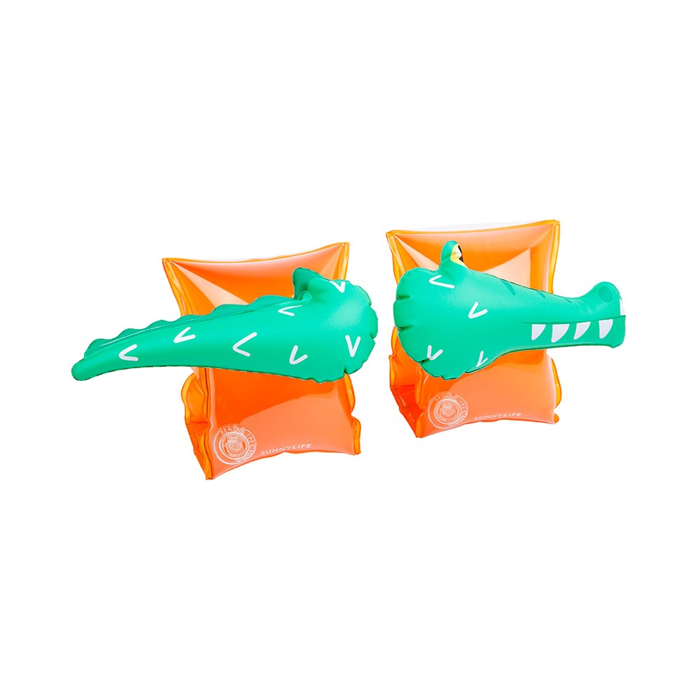 Sunnylife Kid's Inflatable Floaty Swimming Bands Crocodile Green