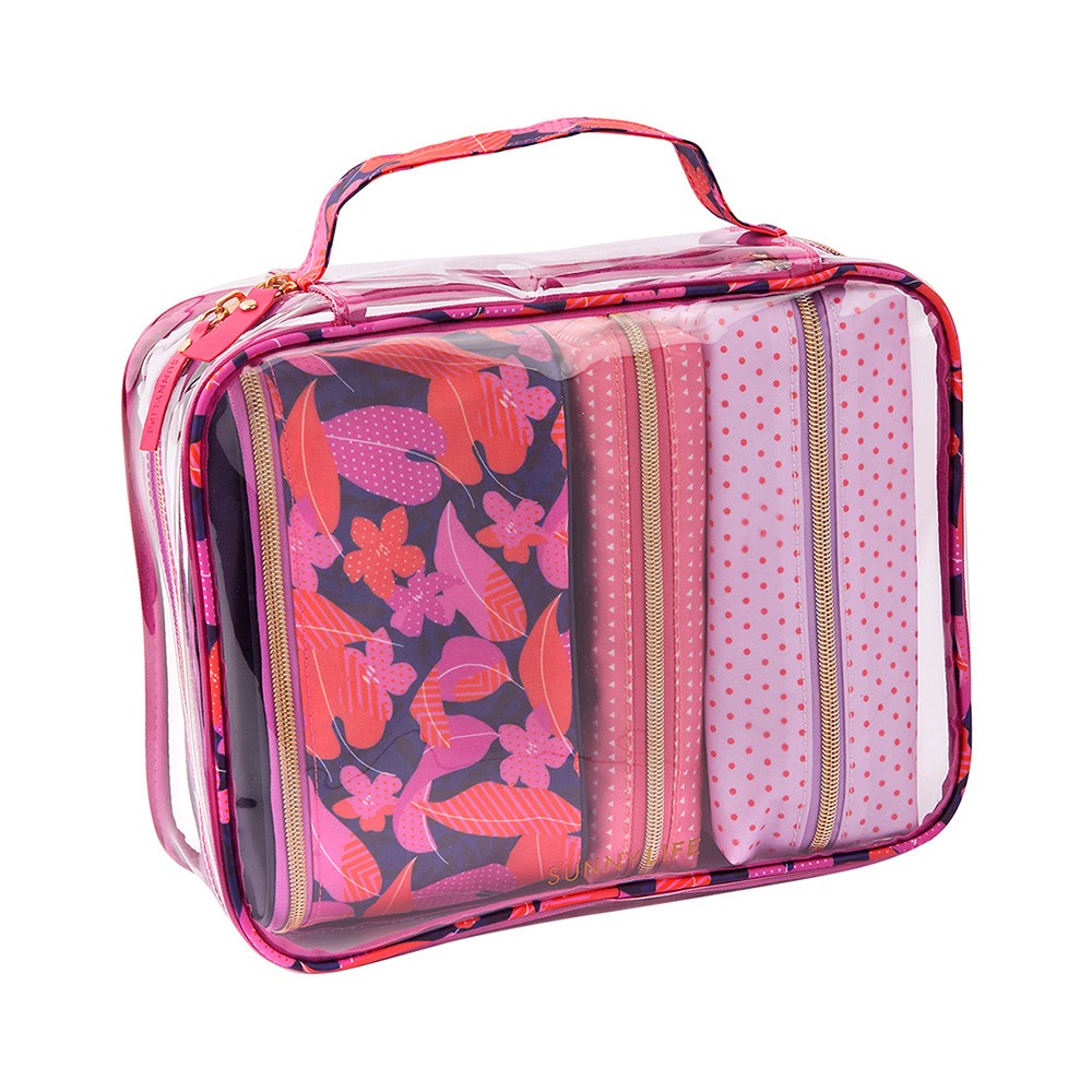 Sunnylife Set of 4 Travel Cosmetic Bags Wild Posy Pink