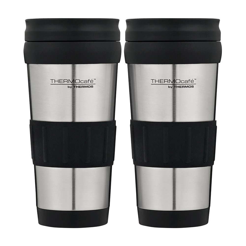 Thermos THERMOcafe Glass & Silicone Travel Tumbler 420ml 2 Pack