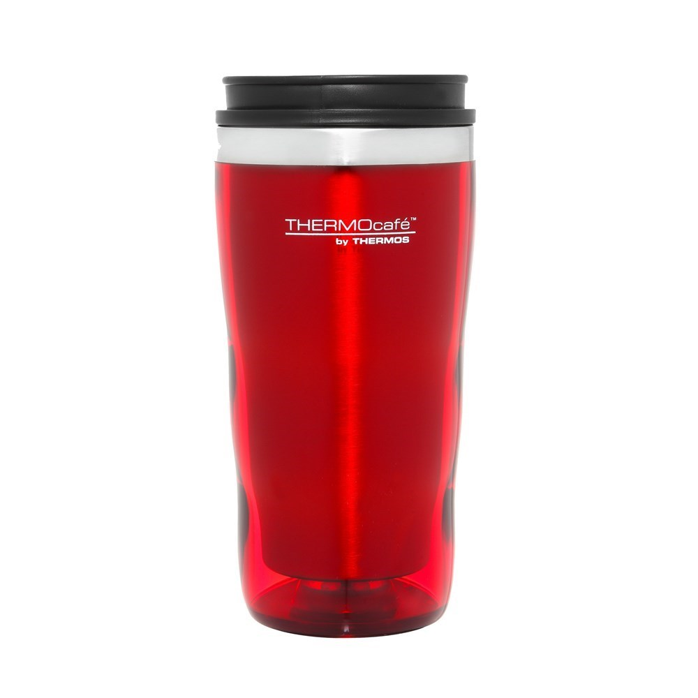 Thermos Stainless Steel Inner, Plastic Outer Travel Tumbler Red 470ml