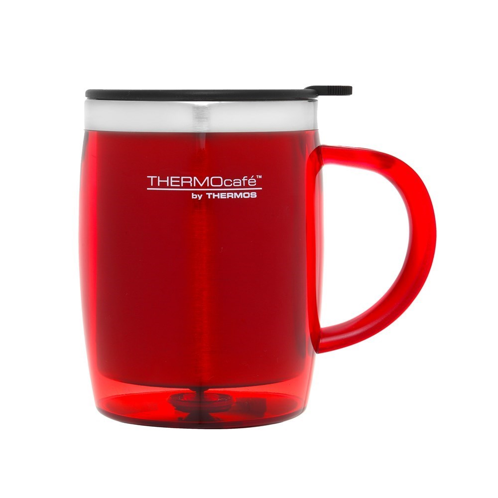 Thermos Stainless Steel Inner, Plastic Outer Desk Mug Red 450ml