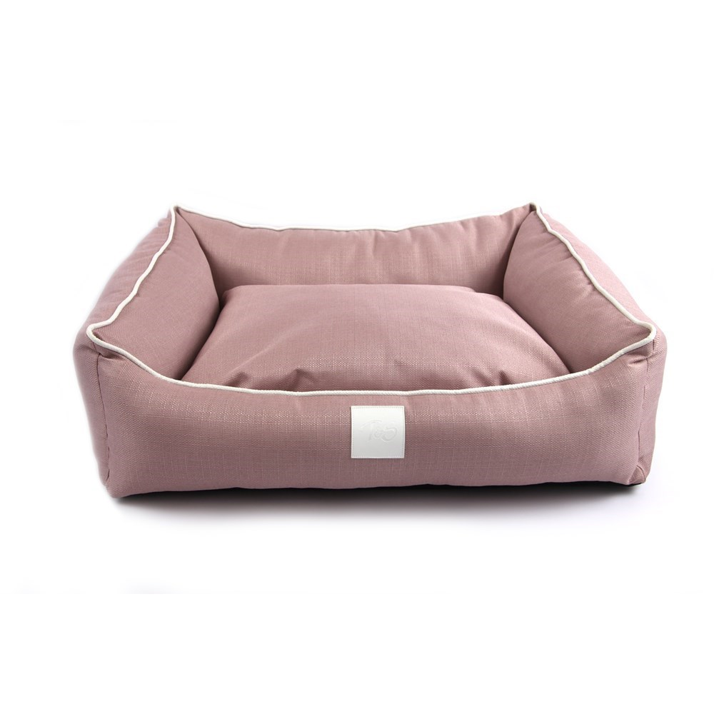 T & S Isleep Pink Linen Dog Bed Small