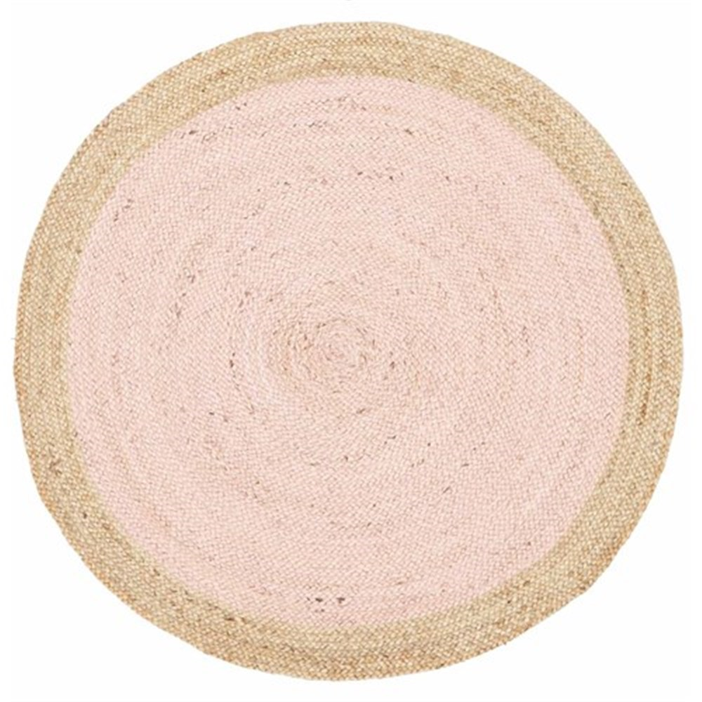 Rug Culture Round Jute Natural Rug Pink 120 x 120cm