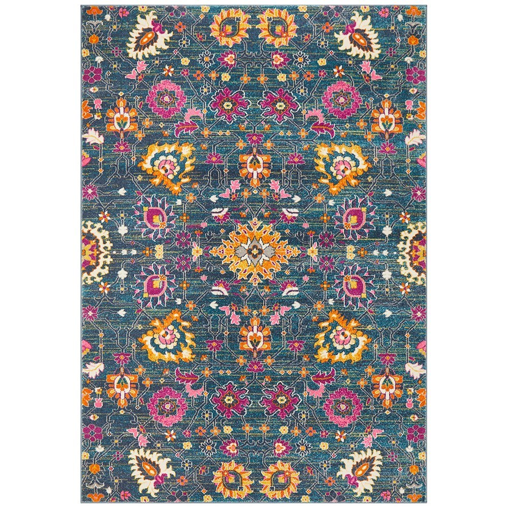 Rug Culture Babylon Paisley Flower Oriental Rug Dark Blue 290x200