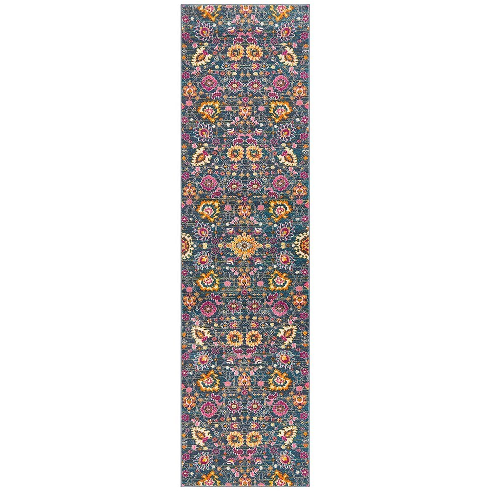 Rug Culture Babylon Paisley Flower Oriental Rug Dark Blue Runner 400x80