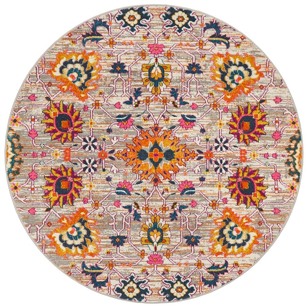 Rug Culture Babylon Paisley Flower Oriental Rug Orange Round 150x150