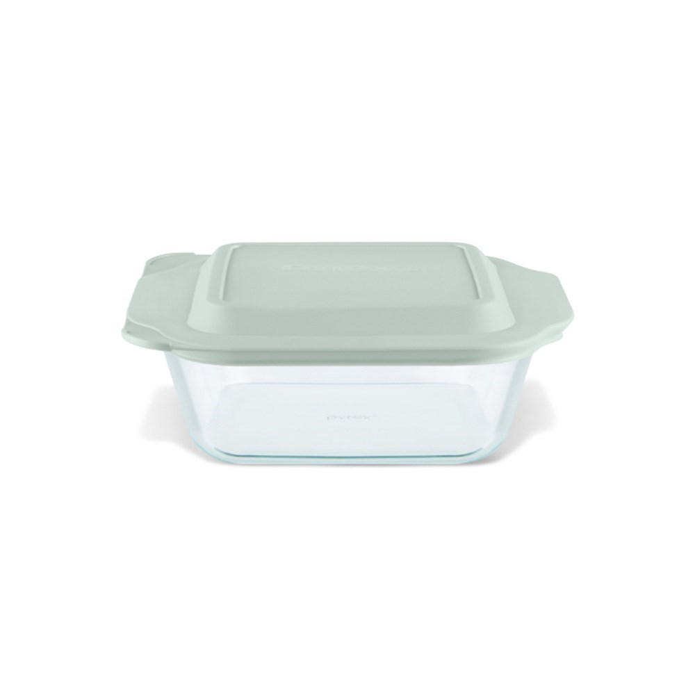 Pyrex Deep Dish Square Glass Baker 2L with Sage Green Lid 20cm