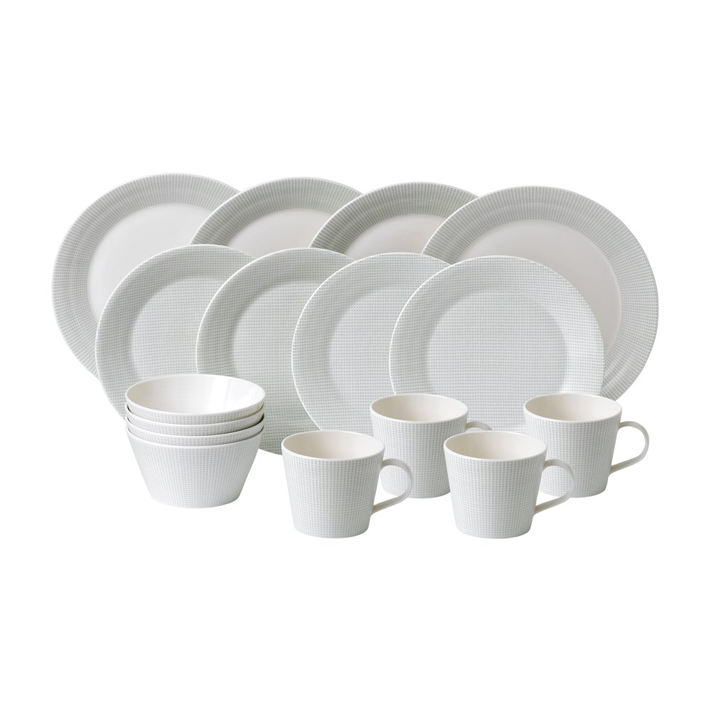 Royal Doulton Pacific Mint Porcelain 16 Piece Dinner Set Mini Dots