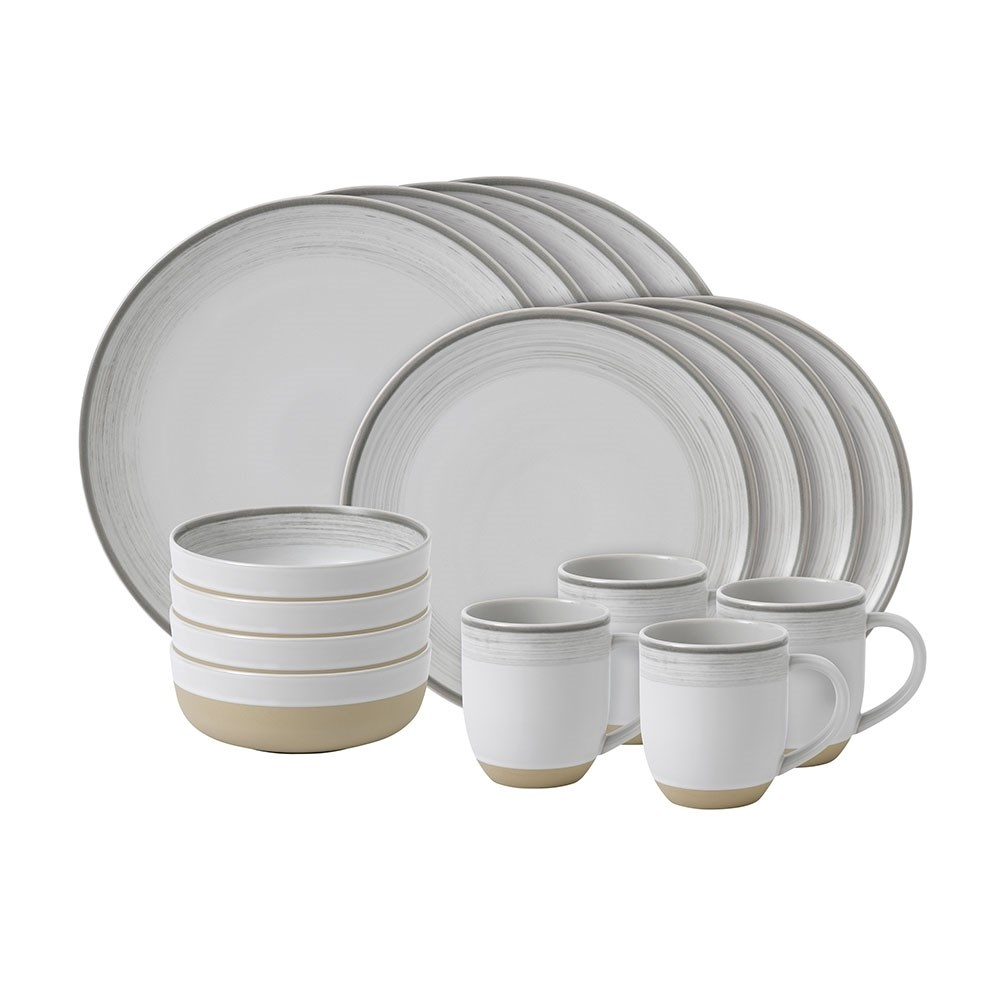 Royal Doulton Ellen Degeneres Dinner Set 16 Piece White Brush Glaze