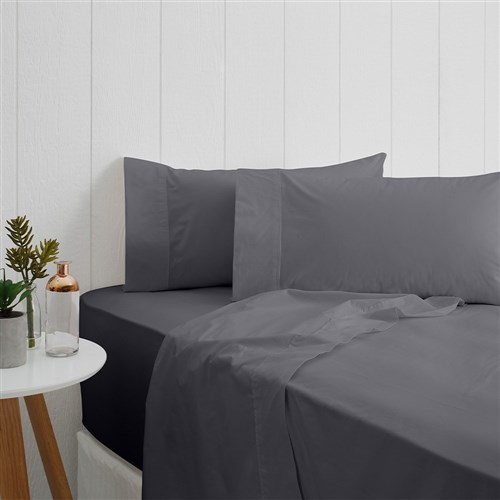 Odyssey Living Breathe Cotton Double Sheet Set - Charcoal