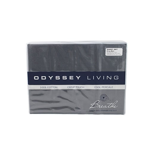 Odyssey Living Breathe Cotton Queen Sheet Set - Charcoal