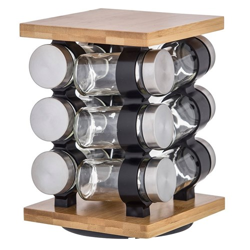 Davis & Waddell Romano Bamboo & Glass 12 Piece Spice Jar Set with Rack