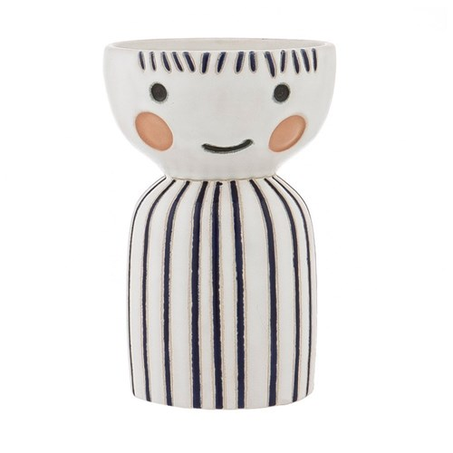 Emporium Earthenware Pixie Face Vase 12 x 12 x 19cm Blue & White