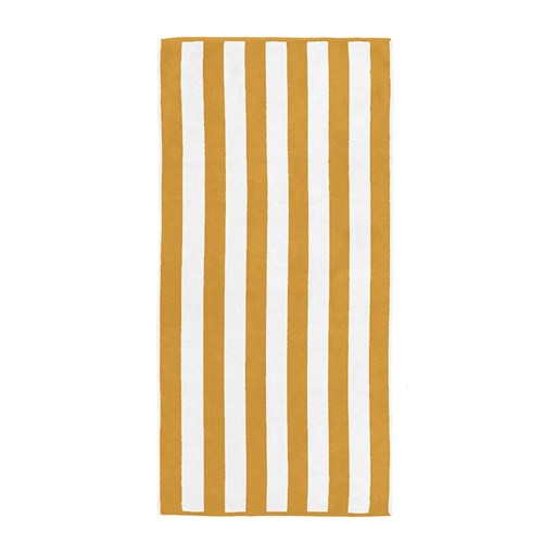 Bambury Cabana Stripe Cotton Beach Towel 75 x 150cm Yellow
