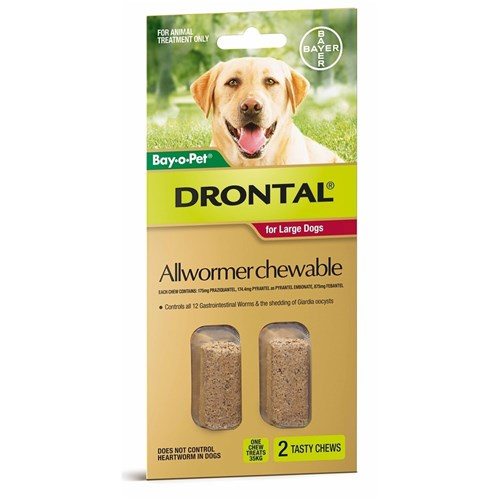 Drontal Allwormer Chewables for Large Dogs 10-35kg 2 Pack