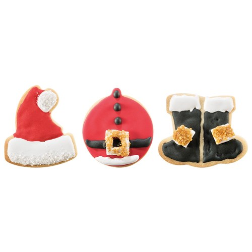Soffritto Professional Bake 3 Piece Santa Cookie Cutter Set