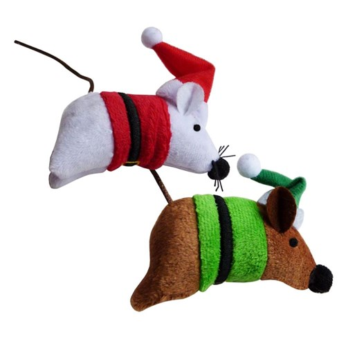 K9 Homes Christmas Mice Christmas Costume Cat Toy 2 Pack