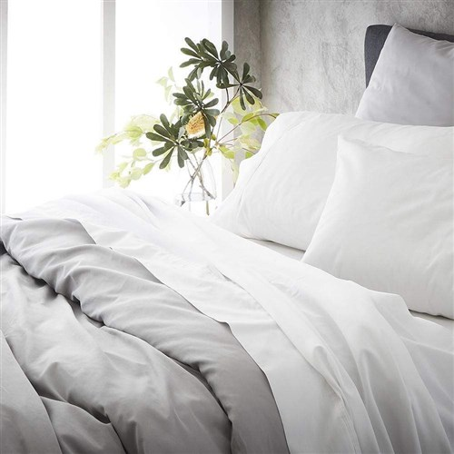 MyHouse Ashton Super King Bed Sheet Set White