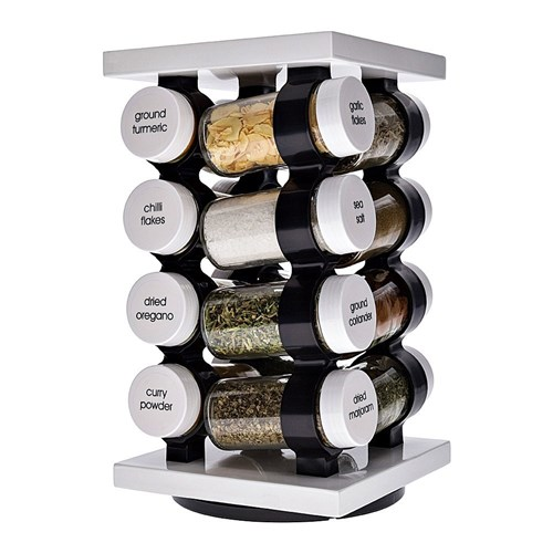 Baccarat Spice Market Aroma 16 Jar Rotating Spice Rack White