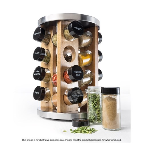 Baccarat Spice Market Khari Stainless Steel 16 Jar Spice Rack