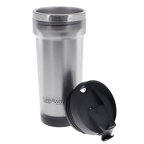 TakeAway Out Stainless Steel Insulated Travel Mug 420ml Silver