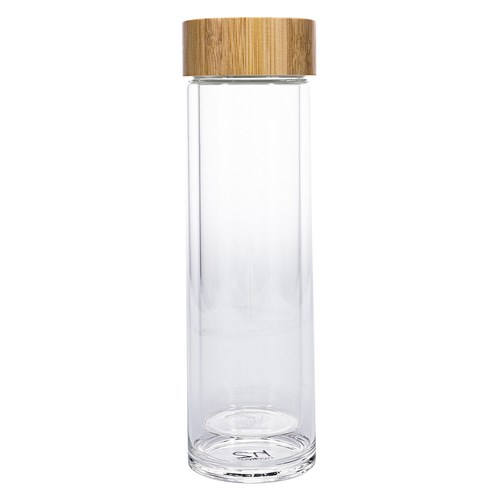h2 hydro2 Togo Double Wall Glass Water Bottle 400ml Clear