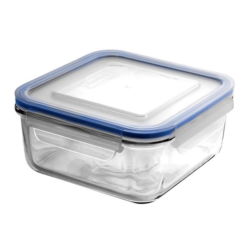 Glasslock Classic Square Tempered Glass Clip-Top Food Container 850ml
