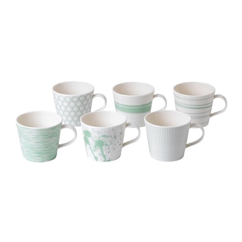 Royal Doulton Pacific Mint Porcelain 6 Piece Mugs Set 450ml